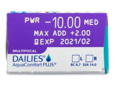 Predogled lastnosti - Dailies AquaComfort Plus Multifocal (30leč)