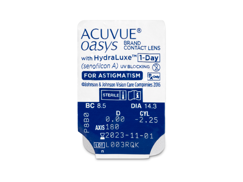 Acuvue Oasys 1-Day with HydraLuxe for Astigmatism (30 leč) - Predogled blister embalaže