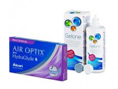 Air Optix plus HydraGlyde Multifocal (6 leč) + tekočina Gelone 360 ml