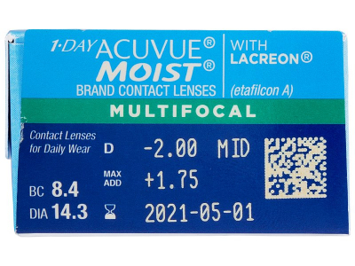 Predogled lastnosti - 1 Day Acuvue Moist Multifocal (30 leč)