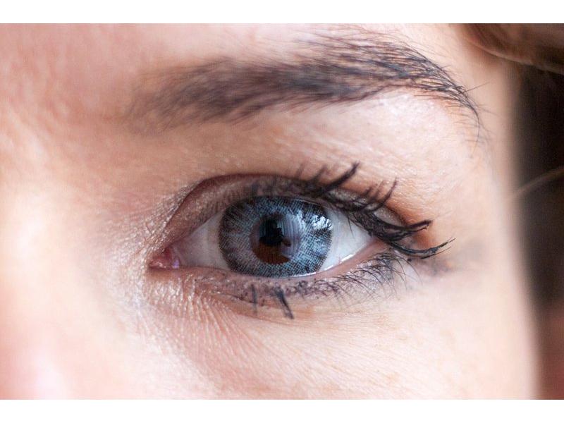 grey on brown eye